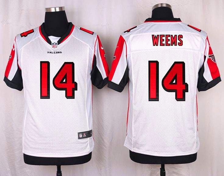Atlanta Falcons #14 Eric Weems White Road NFL Elite Men's Jersey