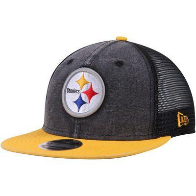 Men's New Era Black/Gold Pittsburgh Steelers Current Logo Rugged Trucker Original Fit 9FIFTY Snapback Adjustable Hat