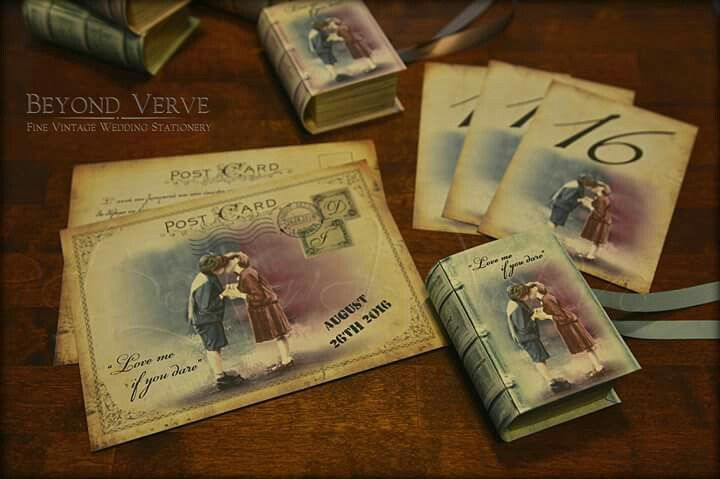 Postcard wedding invitation with matching book favor box - Love me if you dare theme - Vintage wedding stationery - Beyond Verve