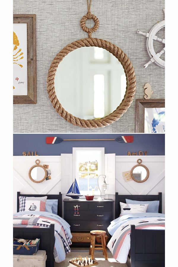 Cool rope mirror   nautical decor inspiration   bedrooms mirror and ship  wheel for guest room. 17 Best ideas about Nautical Kids Rooms on Pinterest   Nautical