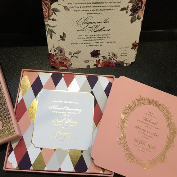 French Inspired Floral Boxed Wedding Invitation by ArtsyPaperGoods