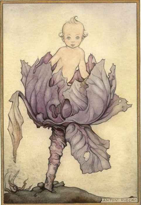 Kind komt uit de rode kool - gesigneerde aquarel - 1942  formaat: 14,5 x 23,1 cm