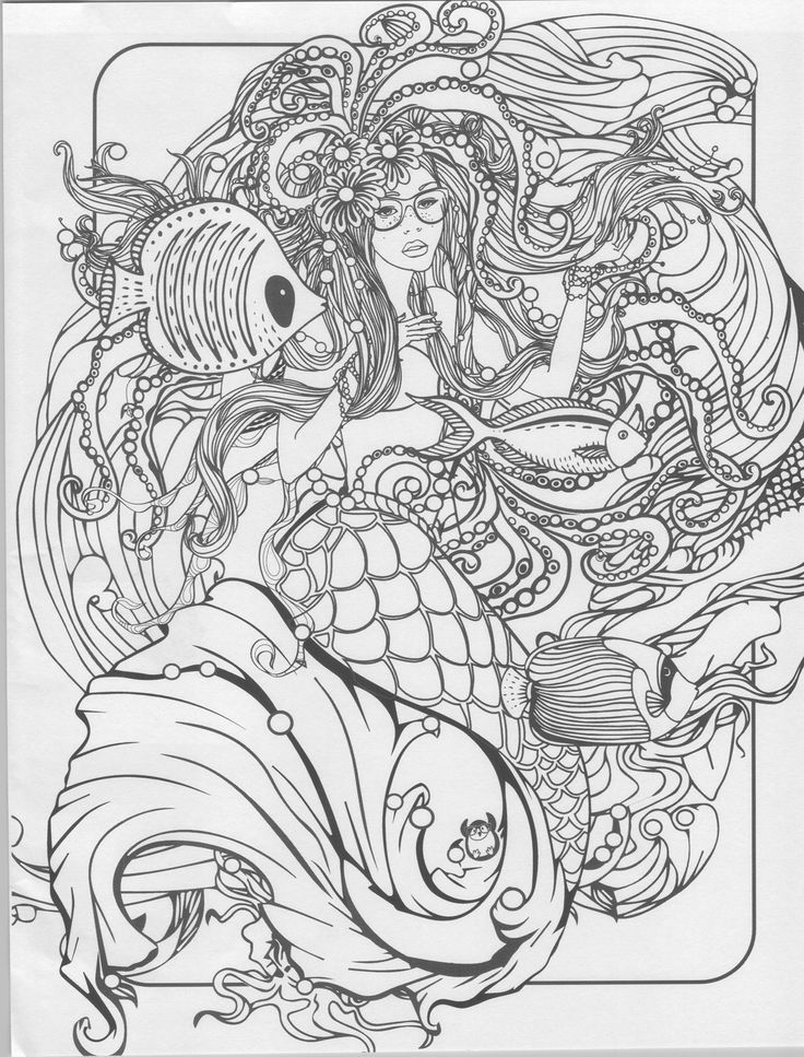 mermaid coloring page - Mermaid Coloring Pages Adults