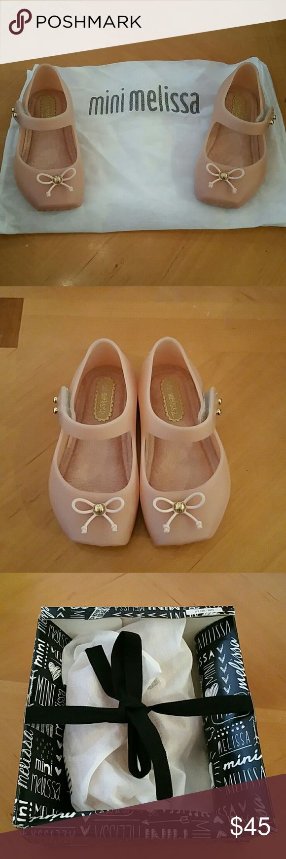 MINI MELISSA SHOES. NWT MINI MELISSA shoes. NWT color is light pink peachy color. Very pretty. Mini Melissa Shoes Baby & Walker