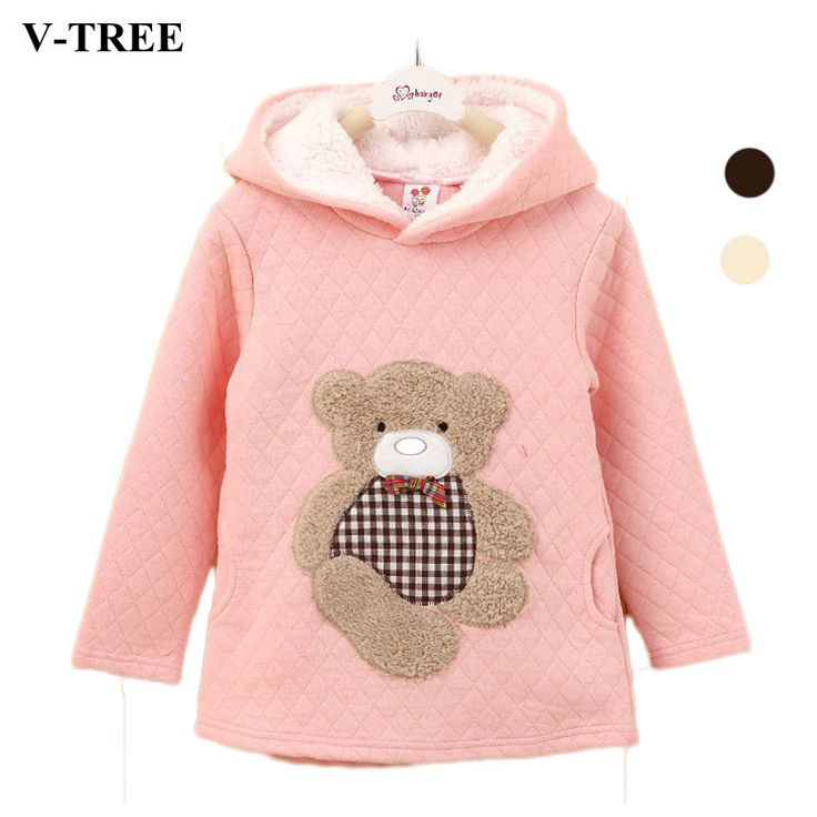 V-TREE Cashmere Hoodies For Girl Shirts Winter Cartoon Bear Girls Sweatshirt Fleece Children T-shirt Long Sleeve Baby Outerwear #Affiliate