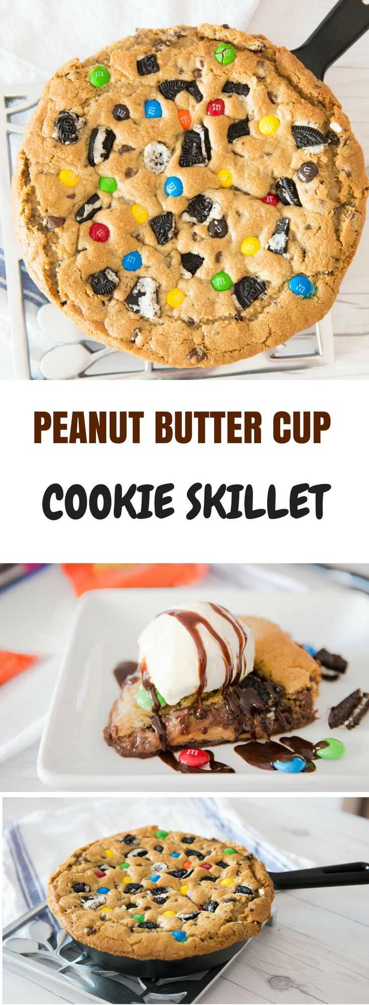 Peanut butter cup cookie skillet recipe is so fun to make with your ...