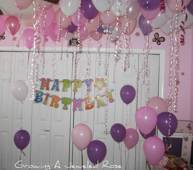 We did this for Rosie's birthday last year, and it is such a special memory!  We rented a helium tank and stayed up late blowing up balloons and filling her room.  Then I woke up extra early so I wouldn't miss her reaction when she opened her eyes.