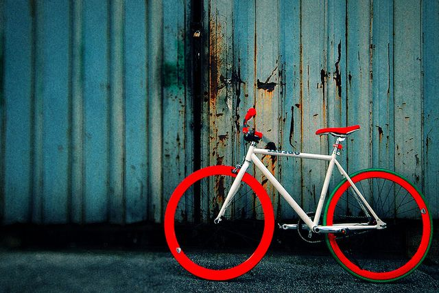 Red & White fixie. I'm sure the red makes it go faster, even up hills