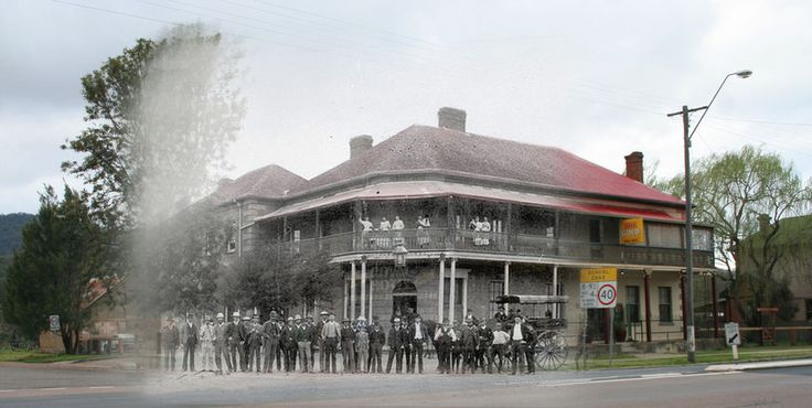 A combination of an original image of Murrurundi's Royal Hotel c 1890 and an image taken in 2009 from the same location.