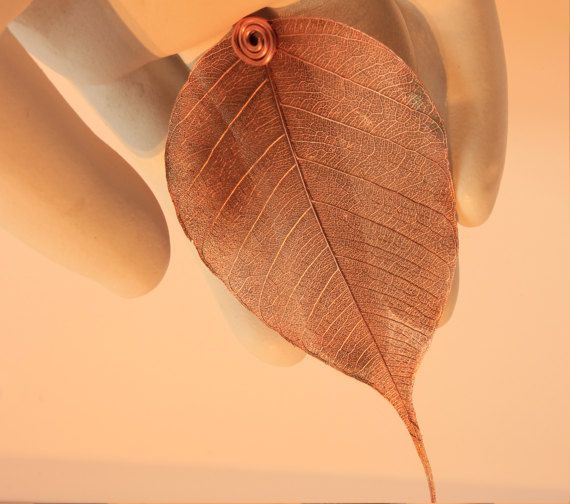 Bodhi Leaf Pendant copper by IccleBodCuriosities on Etsy