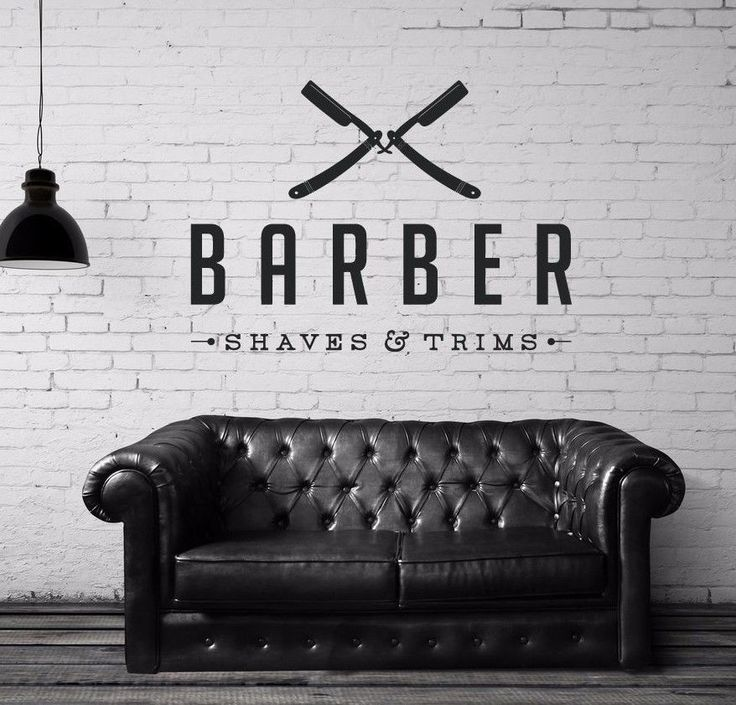 Vinyl Wall Decal Sticker Bedroom Barber Shop Company Name Hair Scissors R1519 Fashion
