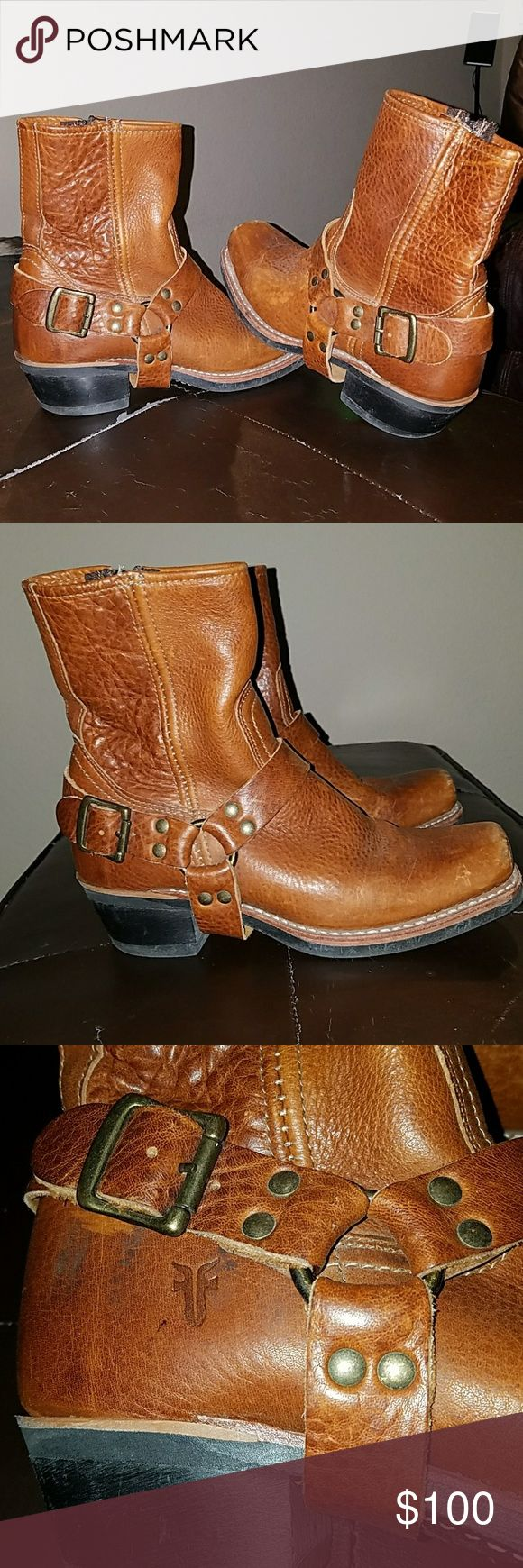 Frye Boots Cognac Frye Boots 8r Harness Frye Shoes Ankle Boots & Booties