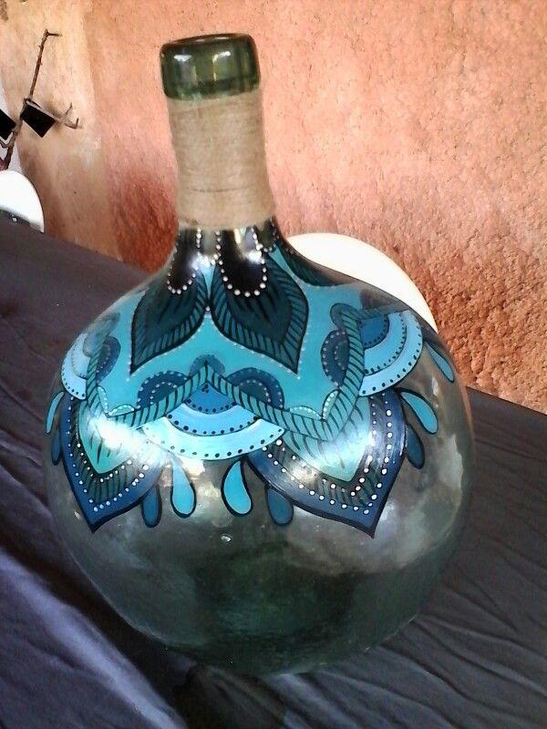 Handbemalte flasche