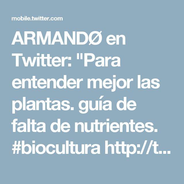 """ARMANDØ en Twitter: """"Para entender mejor las plantas. guía de falta de nutrientes. #biocultura http://t.co/YJlUktLRc4"""""""