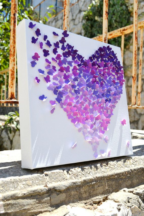 Purple Ombre Butterfly Heart/ 3D Butterfly Wall Art