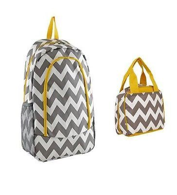 41.57$  Buy here - http://vijyr.justgood.pw/vig/item.php?t=gkassn44555 - Grey and Yellow Chevron Backpack W Matching Lunch Bag 41.57$