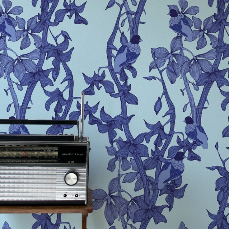 The Doves Wallpaper in Blueberry | www.wallpaperantics.com.au