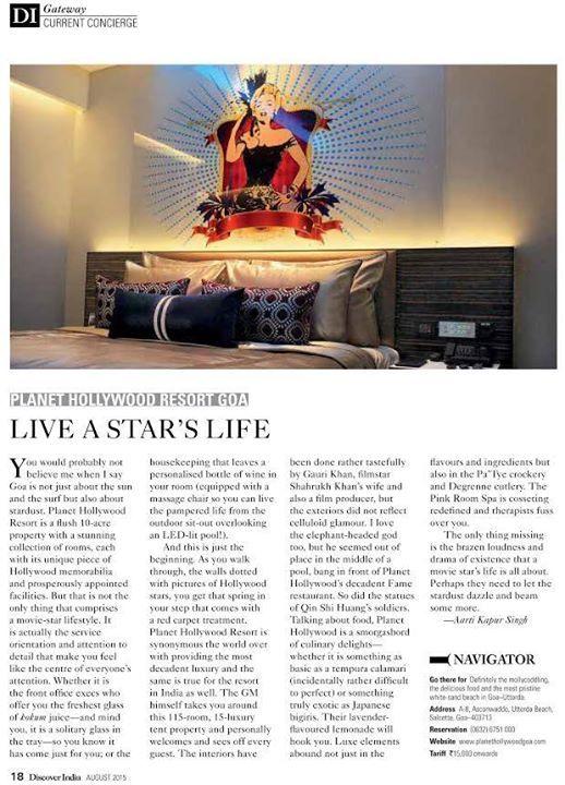 """Live A Star's Life at #PHGoa."" - Discover India Magazine.  #Goa #BeachResort"