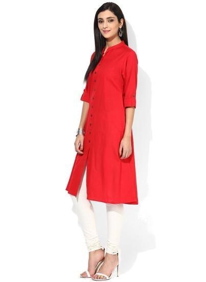 LadyIndia.com # Kurtas, Casual Cotton Orange Kurti For Women, Kurtis, Kurtas, Cotton Kurti, Anarkali, A-Line Kurti Designer Kurti, https://ladyindia.com/collections/ethnic-wear/products/casual-cotton-orange-kurti-for-women?variant=30039295501