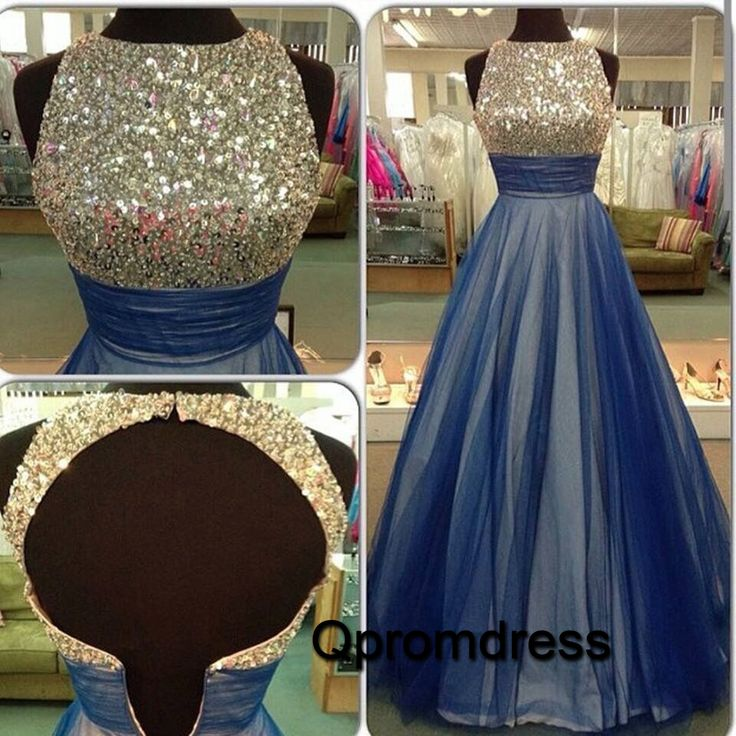 2016 new design cute open back blue tulle long prom dress with top sequins, modest prom dress for teens #coniefox #2016prom
