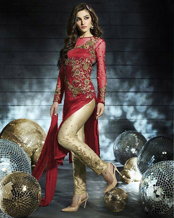 Red Net Pakistani Style Suit 58089