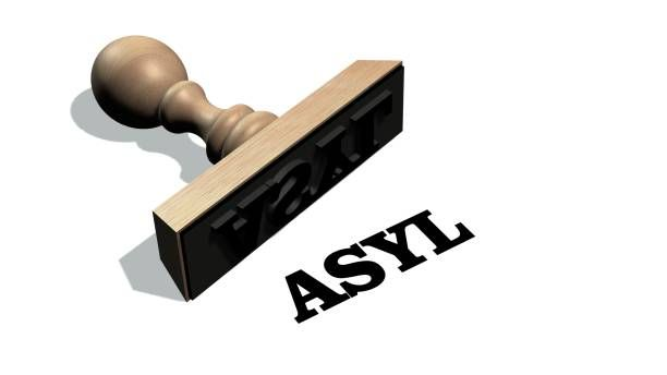 asyl wooden stamp with the word asyl isolate on white background