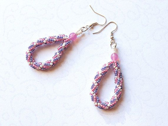 Purple, pink and cream color earrings