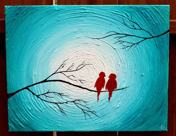 Love Birds on a Tree Limb in the Winter Red by shellyjames on Etsy, $125.00