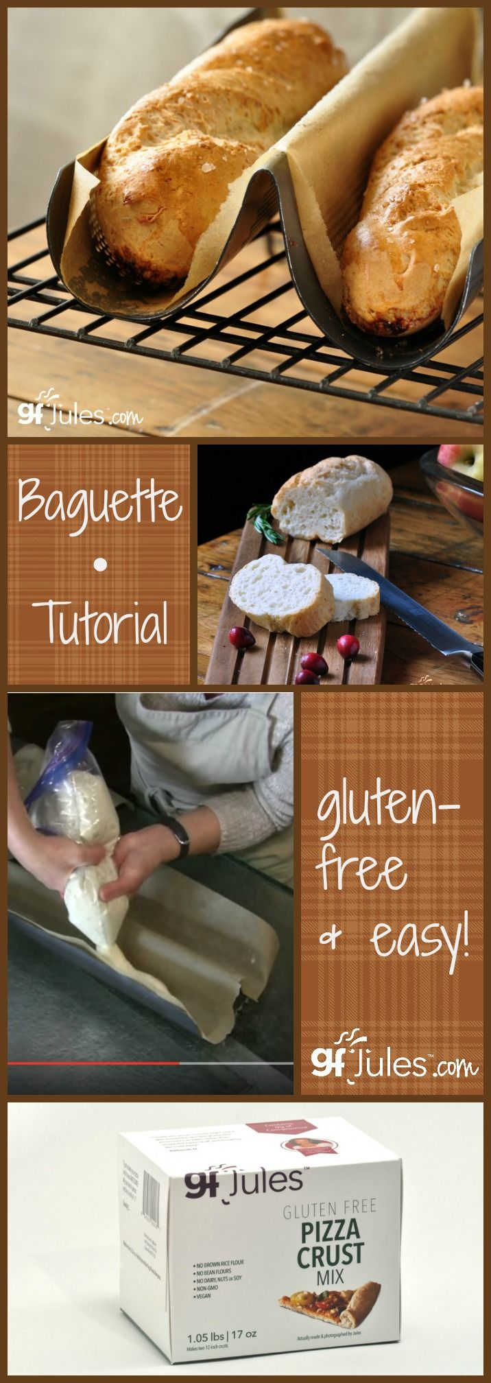 How to make gluten-free baguettes ... easy! These crunchy on the outside, soft, chewy baguettes are perfect for any meal, party or daily bread. And with this tutorial, you'll be making them deliciously in no time! #glutenfree #glutenfreebread #baguette gfJules.com
