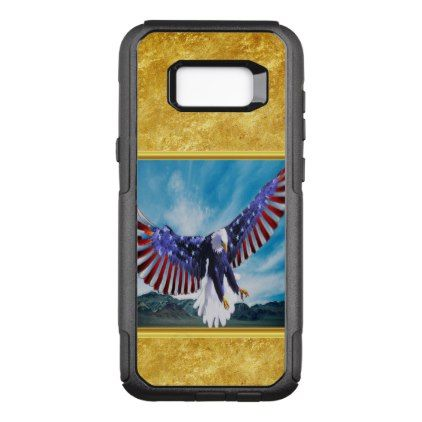 American flag Eagle flying in the sky gold foil OtterBox Commuter Samsung Galaxy S8 Case - foil leaf gift idea special template