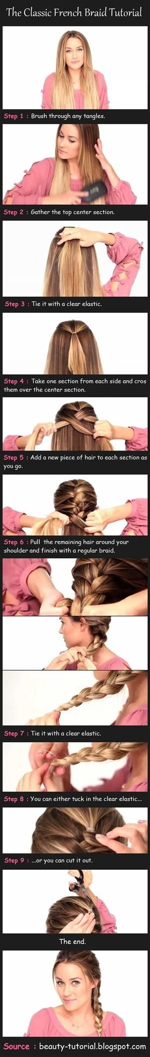 Great trick to french braiding your own hair... I've always wanted to know how to French braid!!