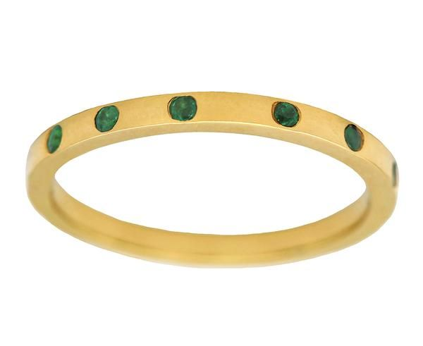 Emerald Nouvel Band. Gillian Conroy Jewelry. Emerald Wedding Band. Classic Wedding Band Style. Emerald Ring. Round Emerald Gold Ring. Birthstone Ring. Burnish Set Gemstone Ring. Classic Wedding Band. Perfect Wedding Band for Bride. Simple Gold Ring.