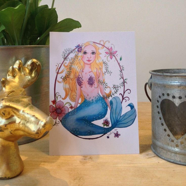 Mermaid card. Mermaid postcard, mermaid birthday card Cute card of a mermaid to sent to Someone special. Look for more fairy tale cards or woodland animal cards at LumisaDesign