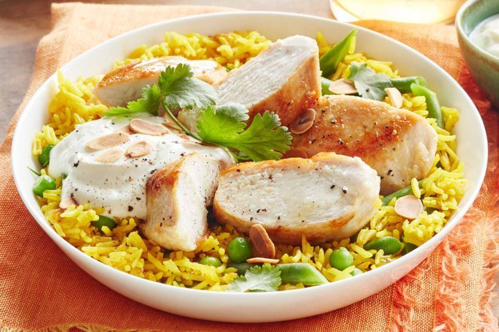 Grilled chicken and turmeric pilaf