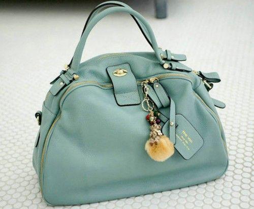Vintage Style Sweet Blue Casual Leather Tote Bag.Chic Weekend Handbag