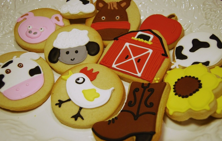 BARNYARD ANIMALS - 1 Dozen mix of 4 in. and 2.5 in. decorated sugar cookies. $35.00, via Etsy.