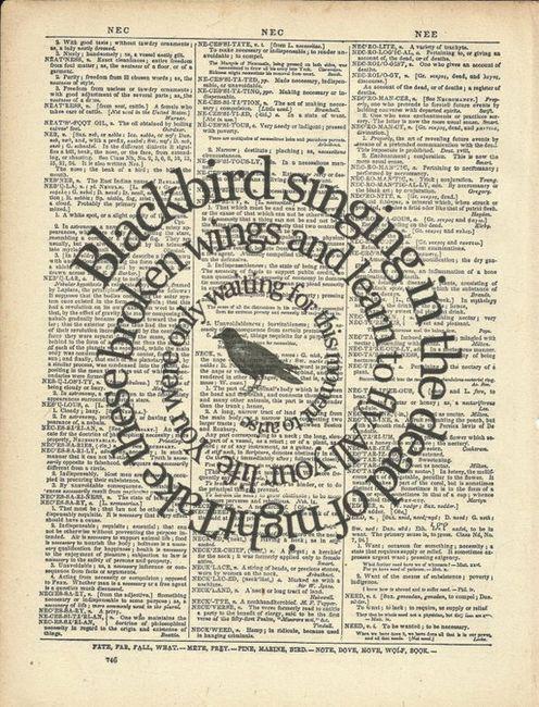 blackbirdMusic, The Beatles, Old Book, Quotes, Art, Book Pages, Blackbird, Beatles Songs, Lyrics