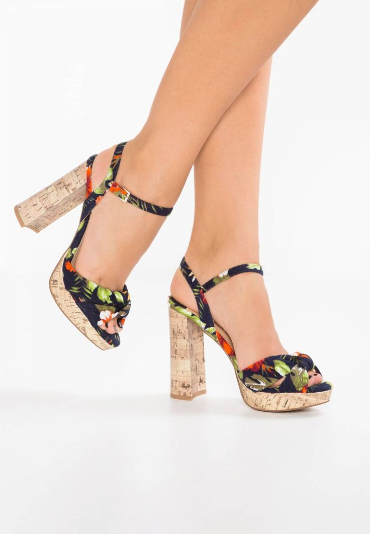 "Dorothy Perkins. SIRI - Platform sandals - multicolor. Pattern:floral. Sole:synthetics. heel height:4.5 "" (Size 4). Platform height:1.0 "" (Size 4). Padding type:Cold padding. Shoe tip:open. Heel type:block heel,platform toe. Lining:imitation leather/ t..."