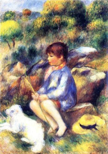 Ritratto di un bambino seduto sul bordo del lago con un cagnolino di  Pierre-Auguste Renoir