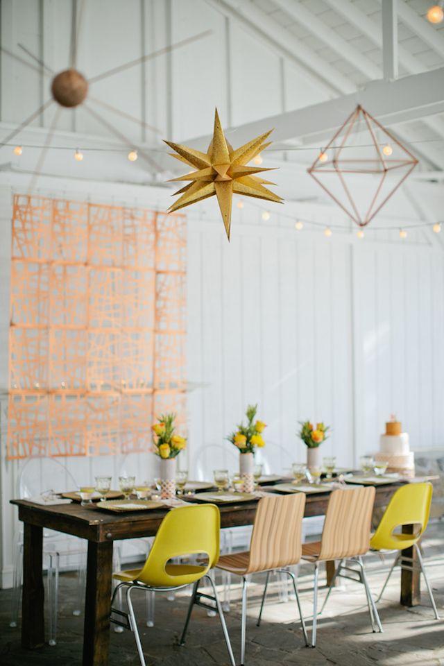 Mod wedding reception | Kristyn Hogan and Cedarwood Weddings | see more on: http://burnettsboards.com/2015/12/yellow-metallic-mod-wedding/