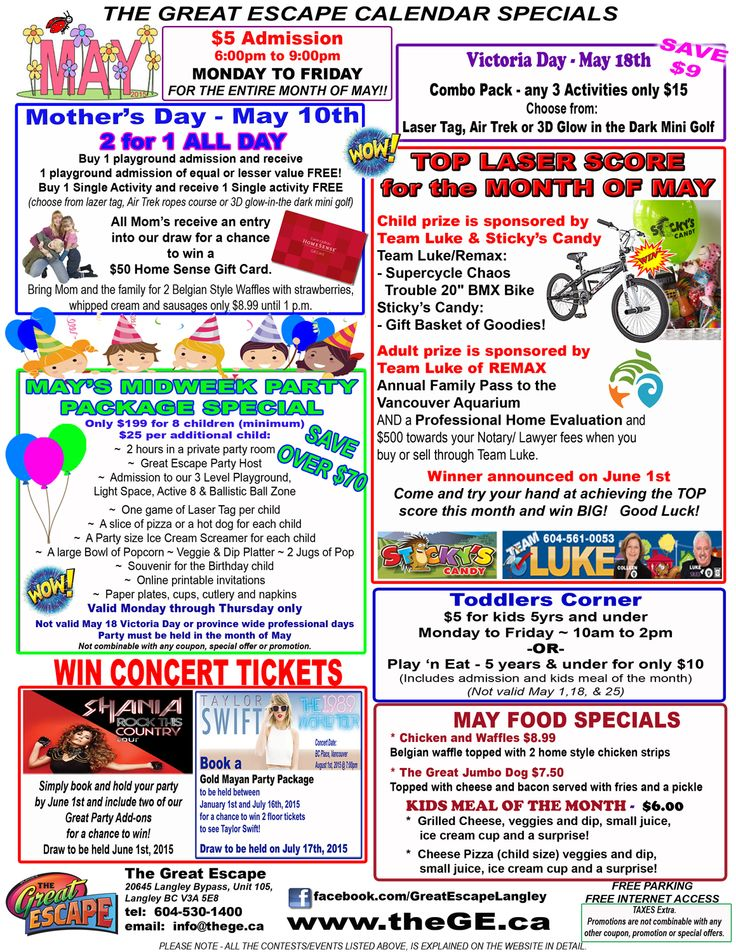 May Calendar of SAVINGS! Check out our specials for the month. Great DEALS and Great Savings.