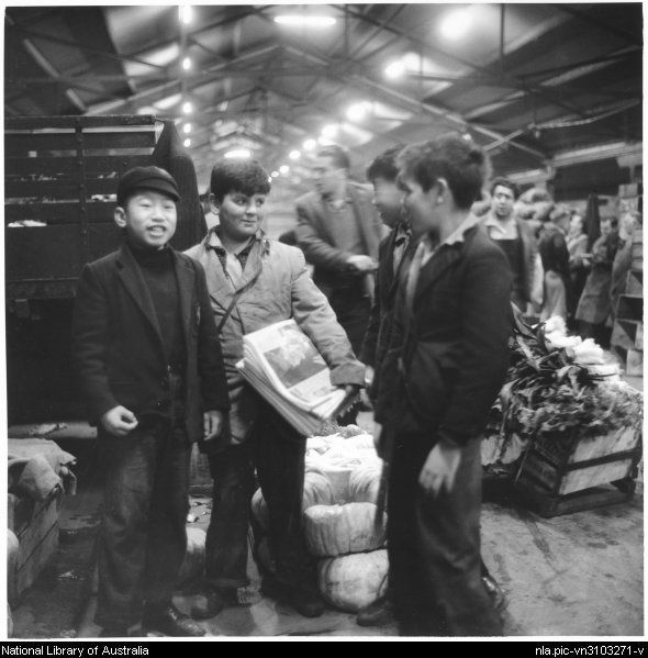 1956 Paper Boy at Queen Victoria Market - teenage boys have worked at the markets in a variety of jobs for over 130 years.