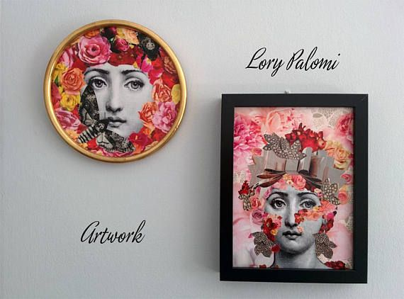 Part of the collection Les Petites. New small format paper decoupage ready to frame, in the most popular sizes. Fresh, playful and made almost alla prima. Reproduced engravings and paper cutouts from magazines and books.  The beautiful Italian opera singer Lina Cavalieri appears under a cascade of falling roses and peonies in pink, peach, yellow and red colors creating a mask over her face. Big ribbon and leaves shaped jewelry in pink gold and diamonds complete the headdress. Soft dusty rose…