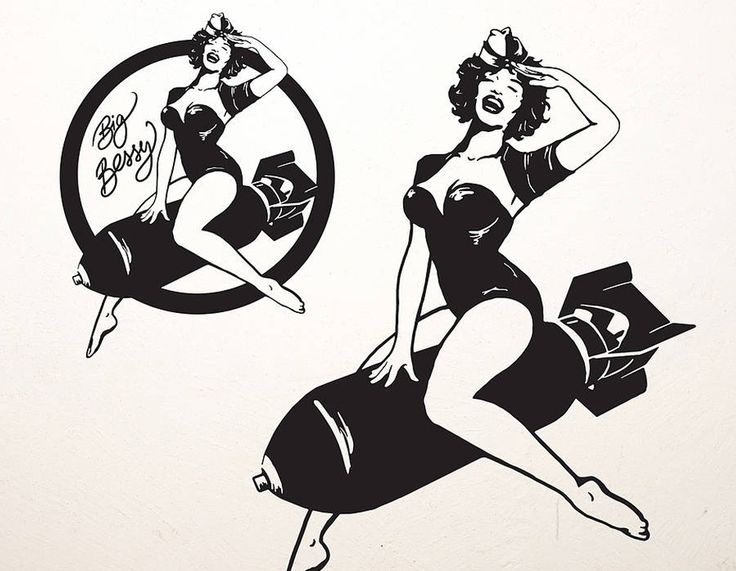 'Big Bessy' is inspired by the nose art and pin ups of WWII. This sticker goes well on most walls and even vehicles!