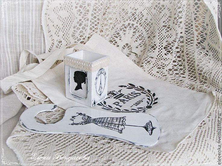 """Купить Винтажный набор для ванной комнаты """"Paris"""" - чёрно-белый, набор, набор для ванной, стаканчик"""