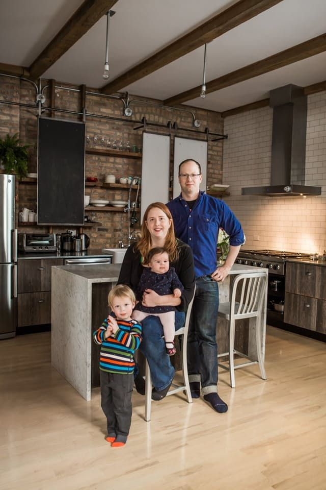"""Who cooks and eats here: Ellen & Greg Gartland Where: Chicago, IL Rent or Own? Own Ellen and Greg Gartland's simple and beautiful kitchen is a result of the pair's creative approach to renovation. """"Rustic elegance,"""" might sound like an oxymoron, but that's exactly what the Chicago couple achieved in the design of their loft. Ellen describes her kitchen as a """"beautiful workhorse"""" where she can prepare meals with her husband and teach their kids about good food."""
