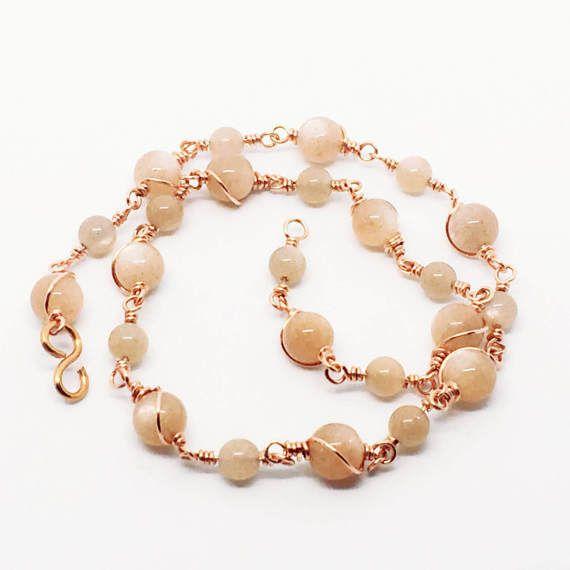 Peach Moonstone Necklace, Moonstone Choker, Blush Necklace, Rosary Choker, Peach Necklace, June Birthstone Necklace, Birthday Jewelry