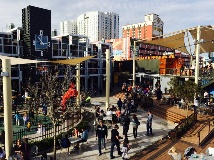 Fremont street container park in old downtown las vegas repurposing shipping containers for - Container homes las vegas ...