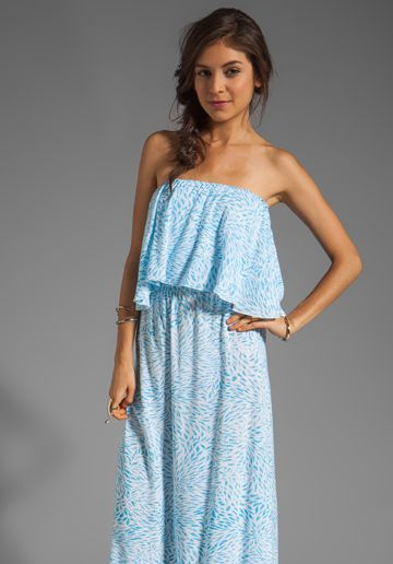 italian shoulder bags Indah Havi Strapless Tiered Maxi Dress in Padi Turquoise