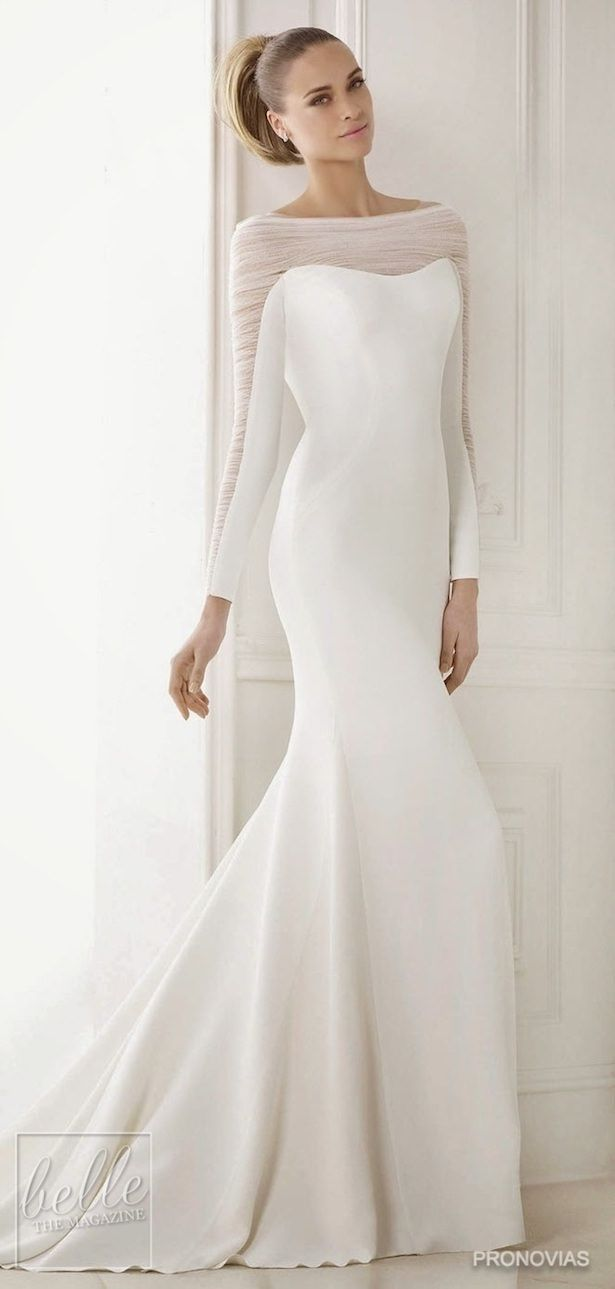 Simple Wedding Dresses Inspired By Meghan Markle Long Sleeve Wedding Dress By Pronovias Roy Stunning Wedding Dresses Wedding Dresses Wedding Dresses Simple [ 1289 x 615 Pixel ]